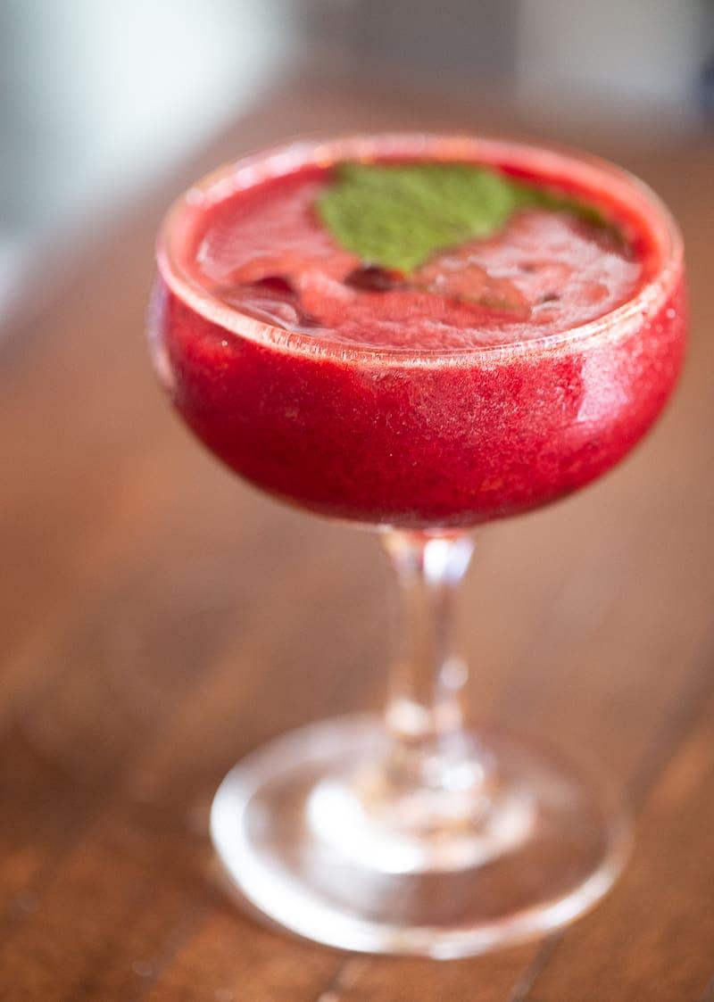 Prohibition Cocktail with Raspberry, Mint, Vodka, and Elderflower