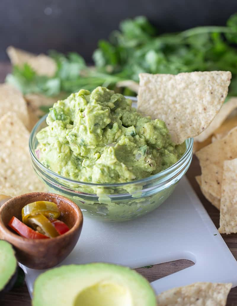 guacamole with large chip