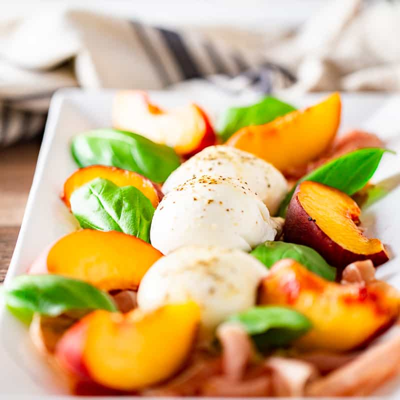 Summer Peach, Burrata, Basil, and Prosciutto Salad
