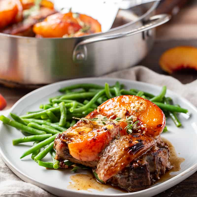 Skillet Balsamic Pork Chops with Peaches and Gorgonzola