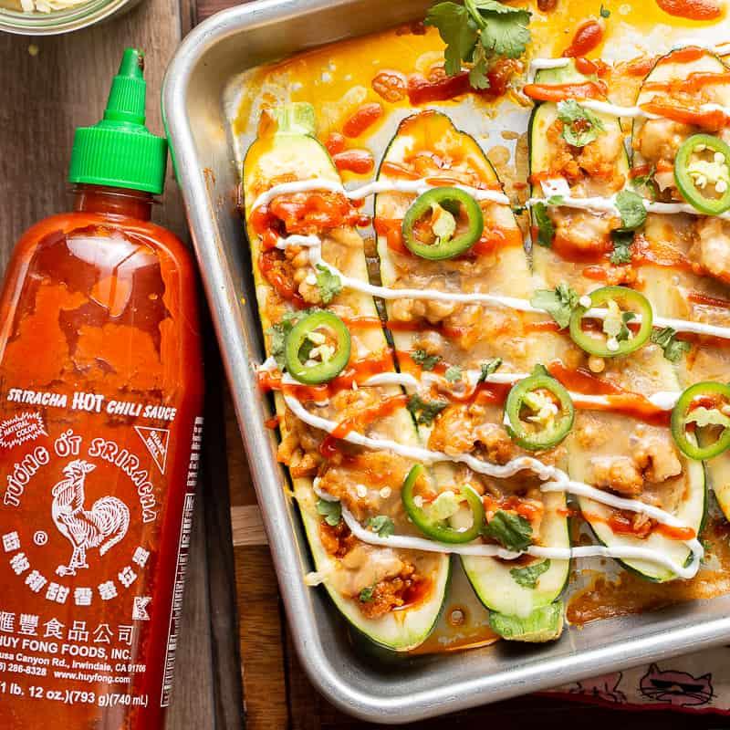 Stuffed Zucchini Boats with Honey Sriracha Ground Chicken