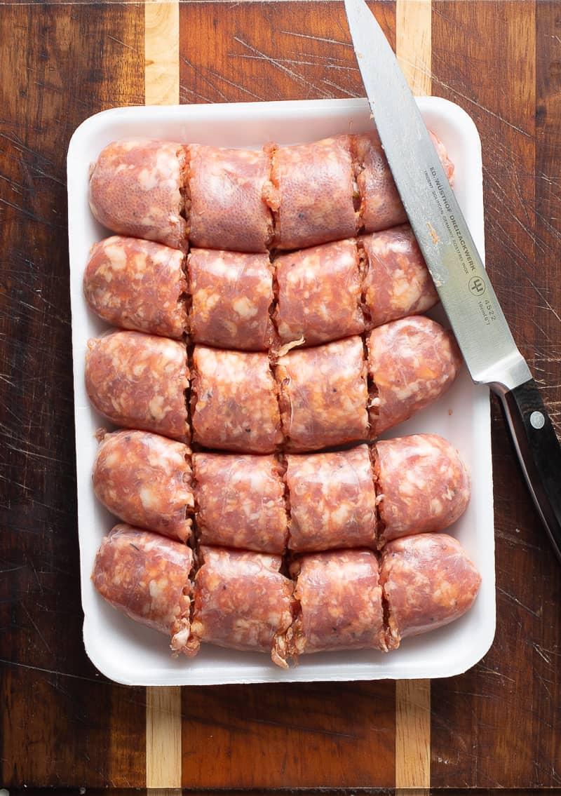 cut up italian sausage