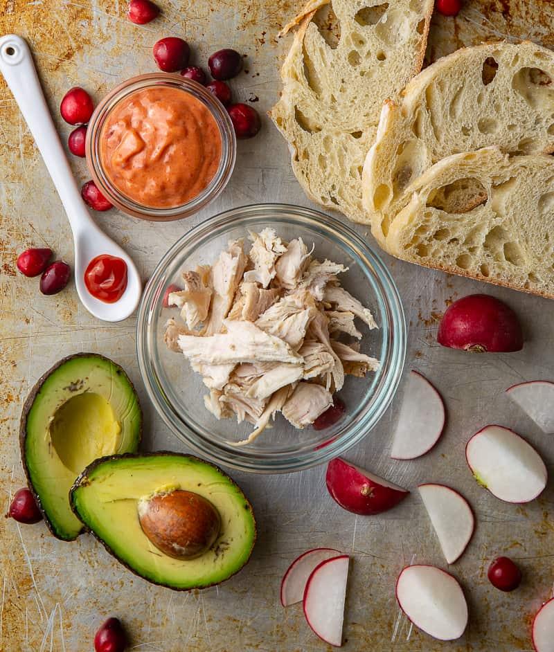 ingredients for turkey avocado toast