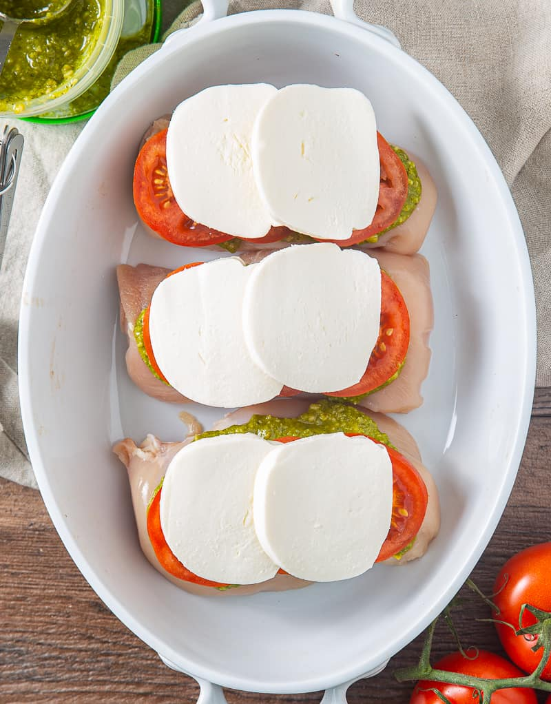 chicken breasts with caprese salad