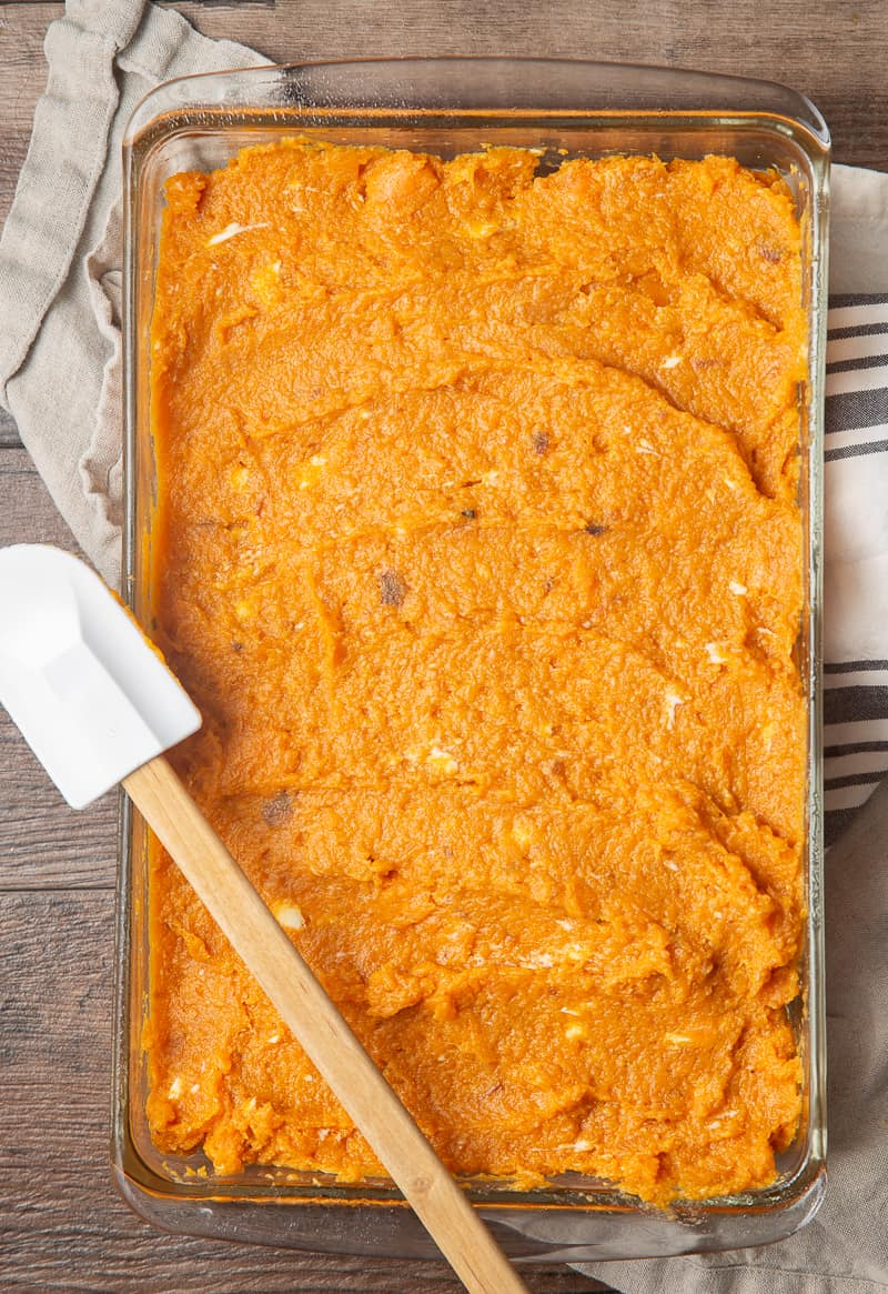 Sweet Potato Casserole ready for freezer