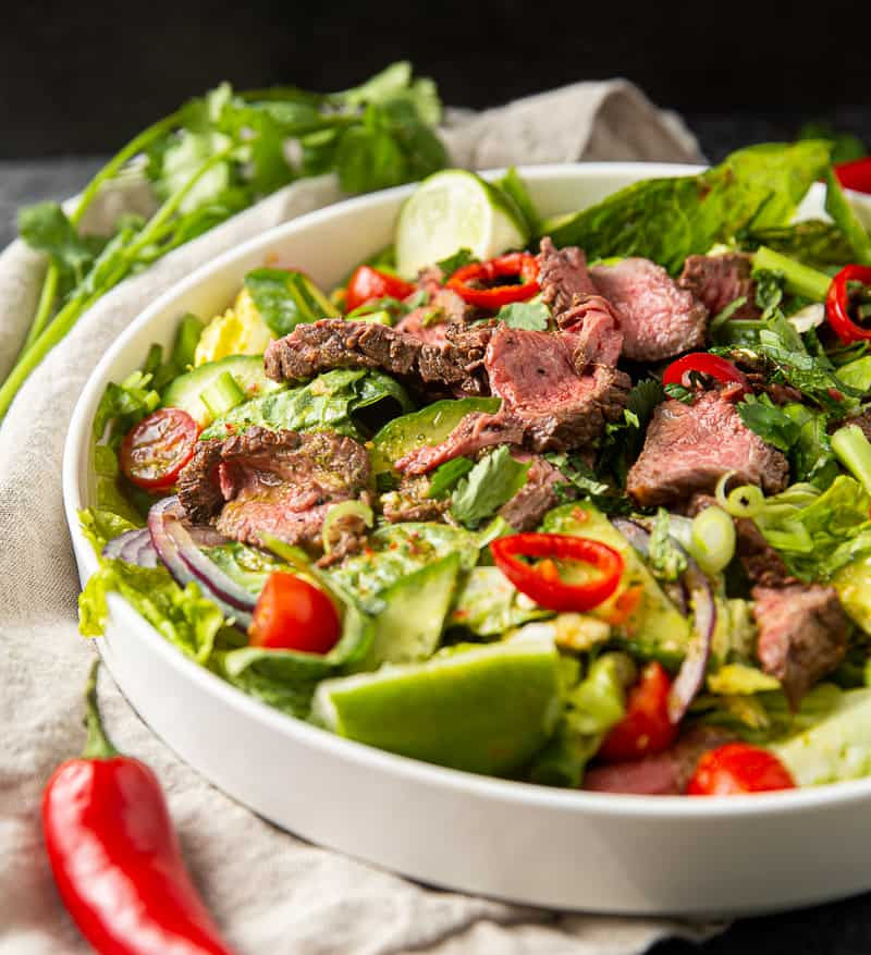 Thai Salad with spicy beef and lime dressing