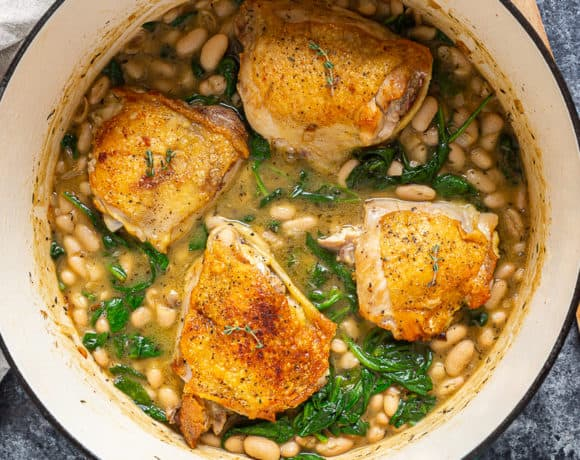 skillet cooked chicken thighs with canned white beans and spinach