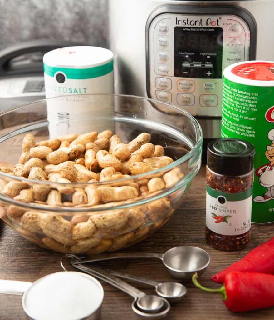 Ingredients for cajun boiled peanuts