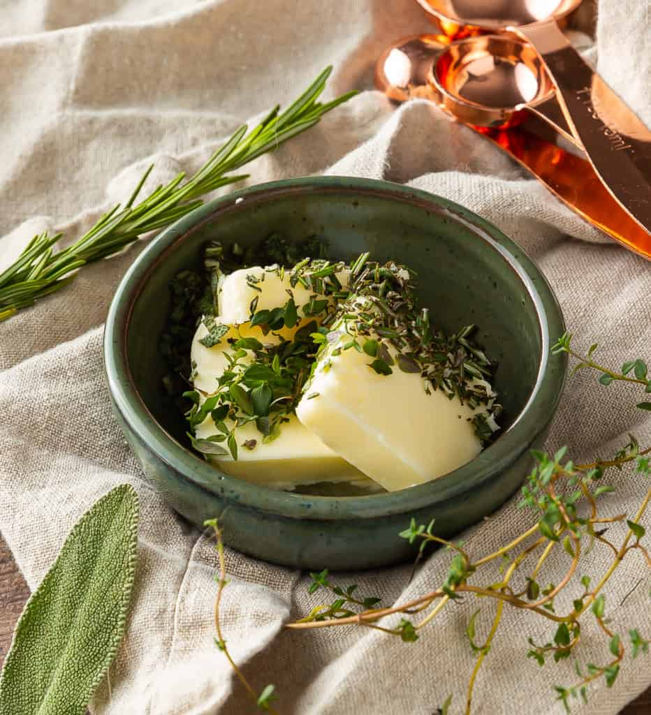 fresh herb butter ready to be mixed