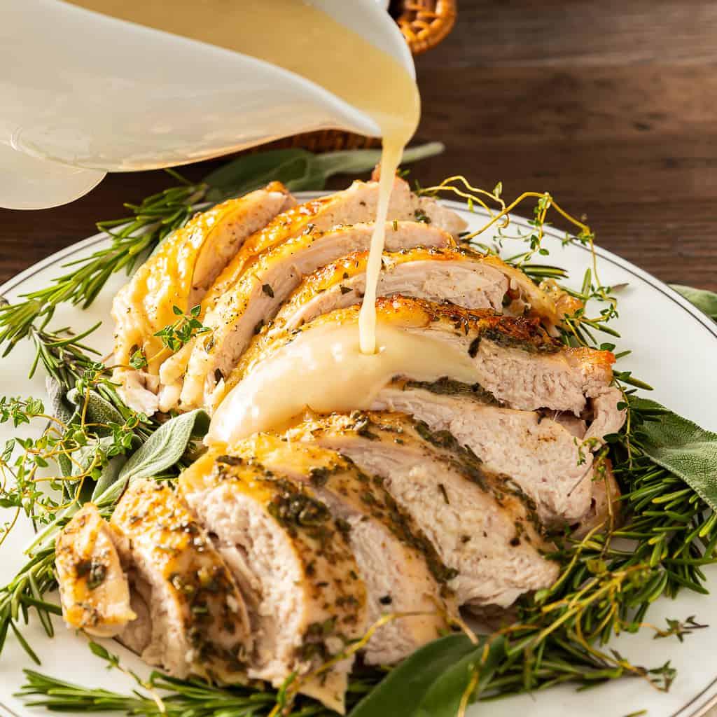 roasted turkey breast with gravy