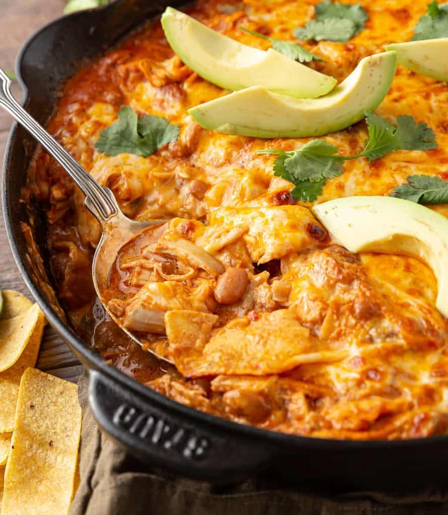 leftover rotisserie chicken enchiladas made in skillet
