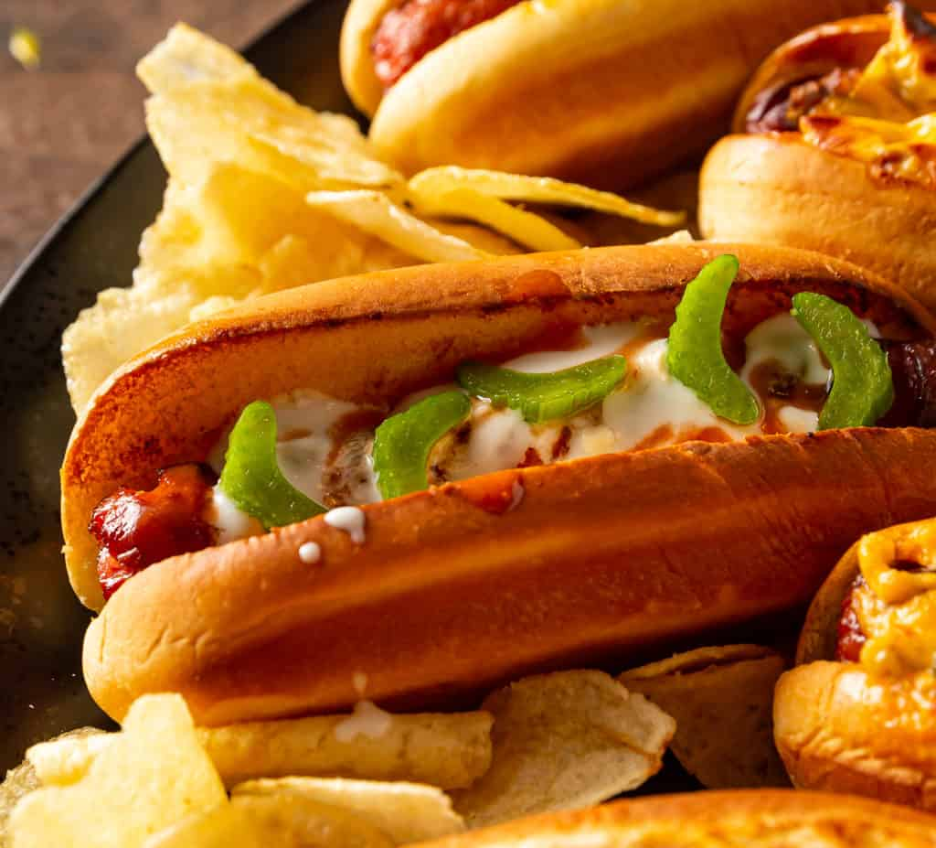 hot dog with buffalo sauce and blue cheese